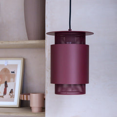 metal wall lampshade mesh red Hubsch