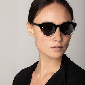 Tamara Black Gradient Frame Sunglasses with Round Lenses