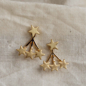 Ava 2 in 1 gold star earrings