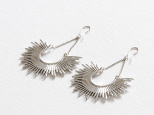 Soleil Half Burst Earrings in Silver
