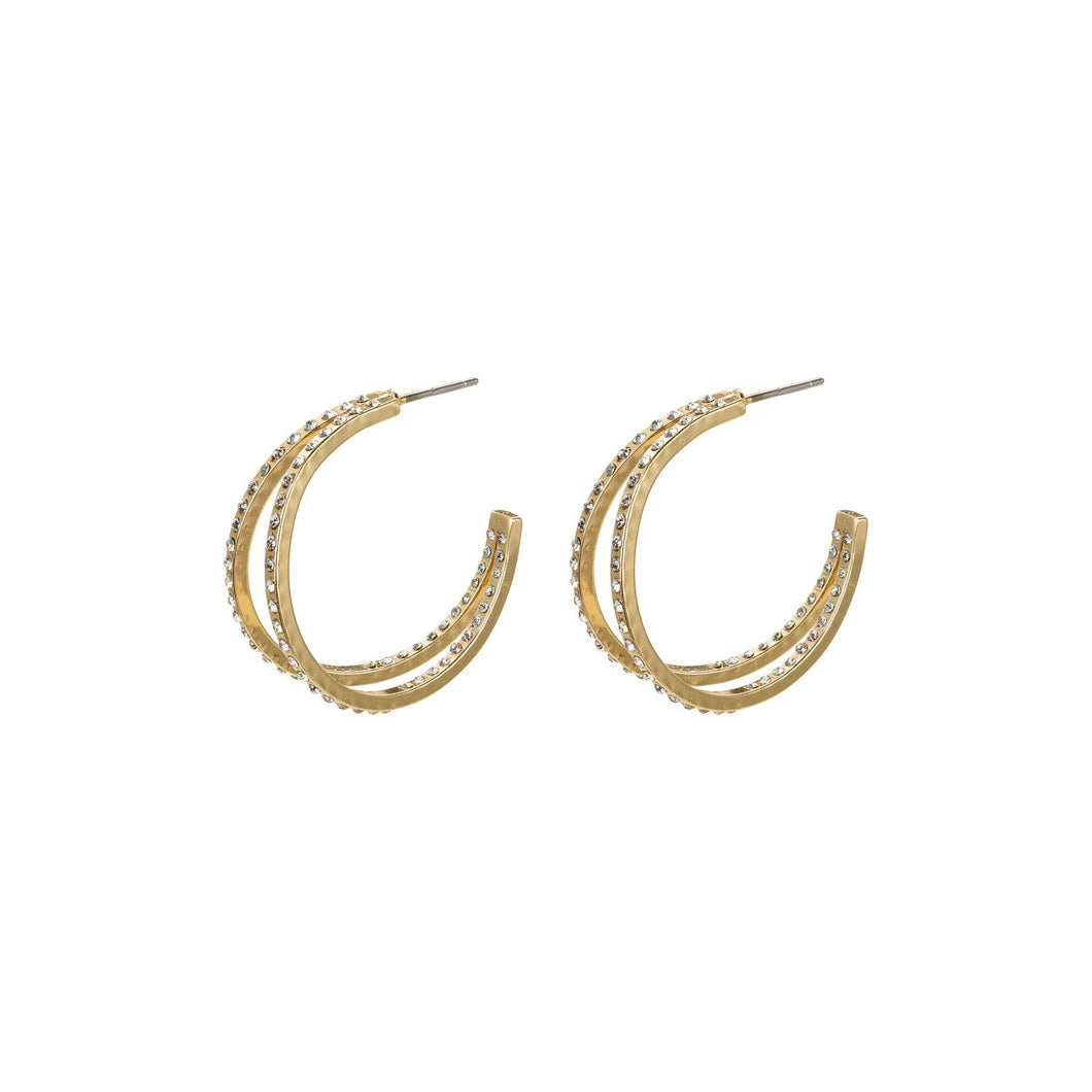 Pilgrim Fire Crystal Gold plated Double Hoops