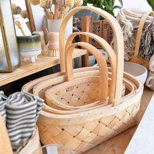 Chip Wood Baskets with Handle Set of Three