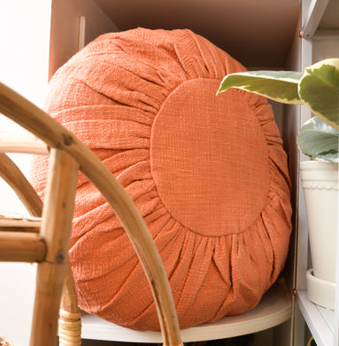 bloomingville-round-terracotta-orange-cushion