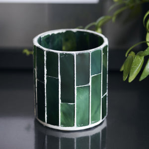 Amroha Tealight holder in Dark Green Mosaic
