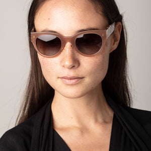 Mali Cat-Eye Sunglasses in Rose/ Brown Marbled Frame