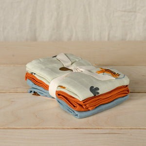100% Organic Cotton Set of Three Baby Muslin Squares in Tiger Pattern