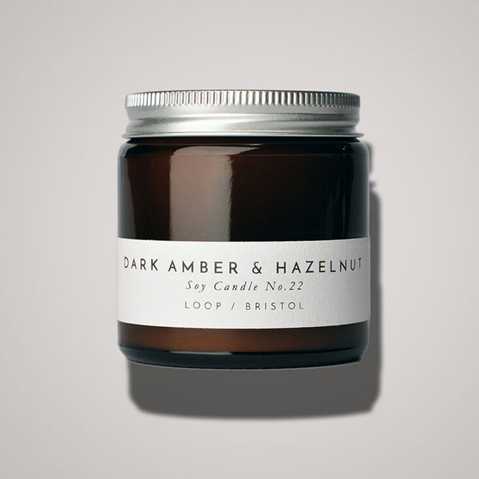 Dark Amber and Hazelnut Scented Candle