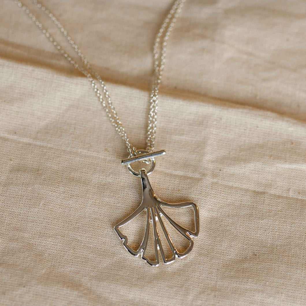 Pilgrim Saki Ginko Leaf Silver Necklace