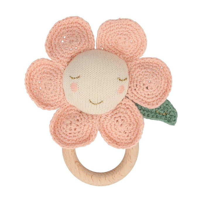 Organic Cotton Peach Flower Knitted Baby Rattle
