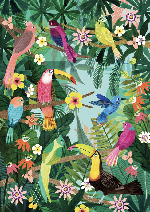 Petit Monkey Rain Forest Birds Poster