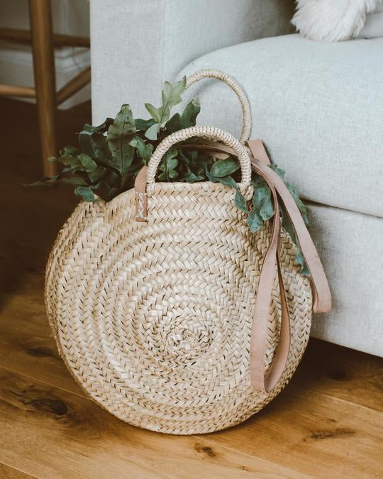 Round Straw & Leather Bag