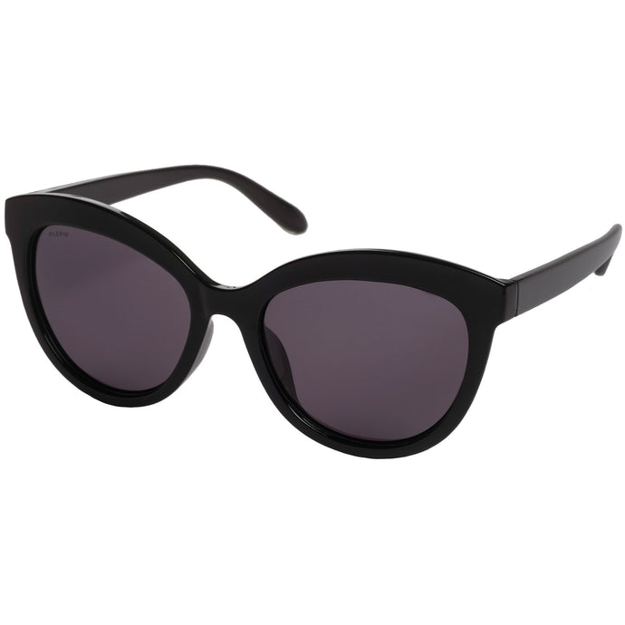 Tulia Cat-Eye Sunglasses in Black Glossy Frame with Smokey Lense