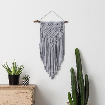 Mara Large Grey Macrame Wall Hanging