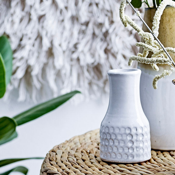 Bloomingville White Textured Flute Neck Vase