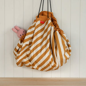 Stripes Toy Storage Bag Matt Mustard