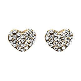 Pilgrim-Mathilde Diamante Heart Stud Earrings