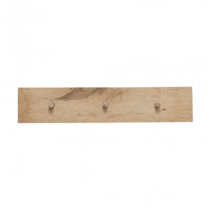 Oak Coat Rack with Three Hooks