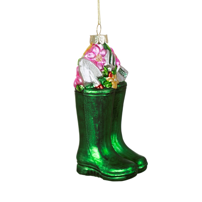 Wellington Boots Glass Hanging Decoration