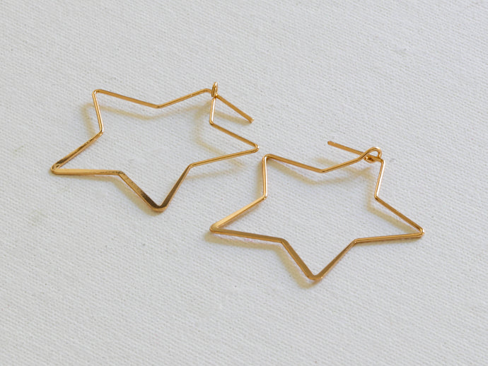 Iman Gold Plated Star Hoops
