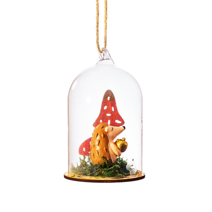 Hedgehog Dome Shaped Glass Bauble Decoration