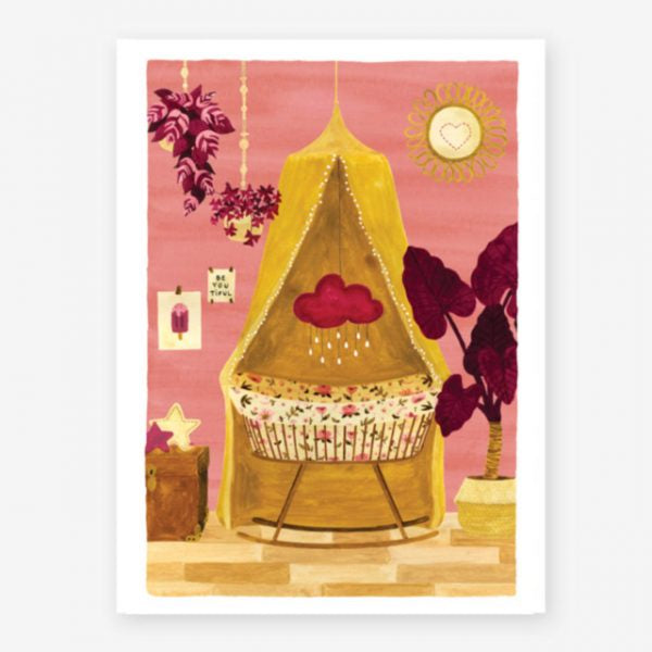 All The Ways To Say Pink And Yellow Crib Card