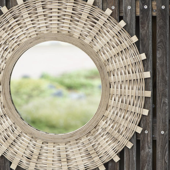 Mirror With Bamboo Braid