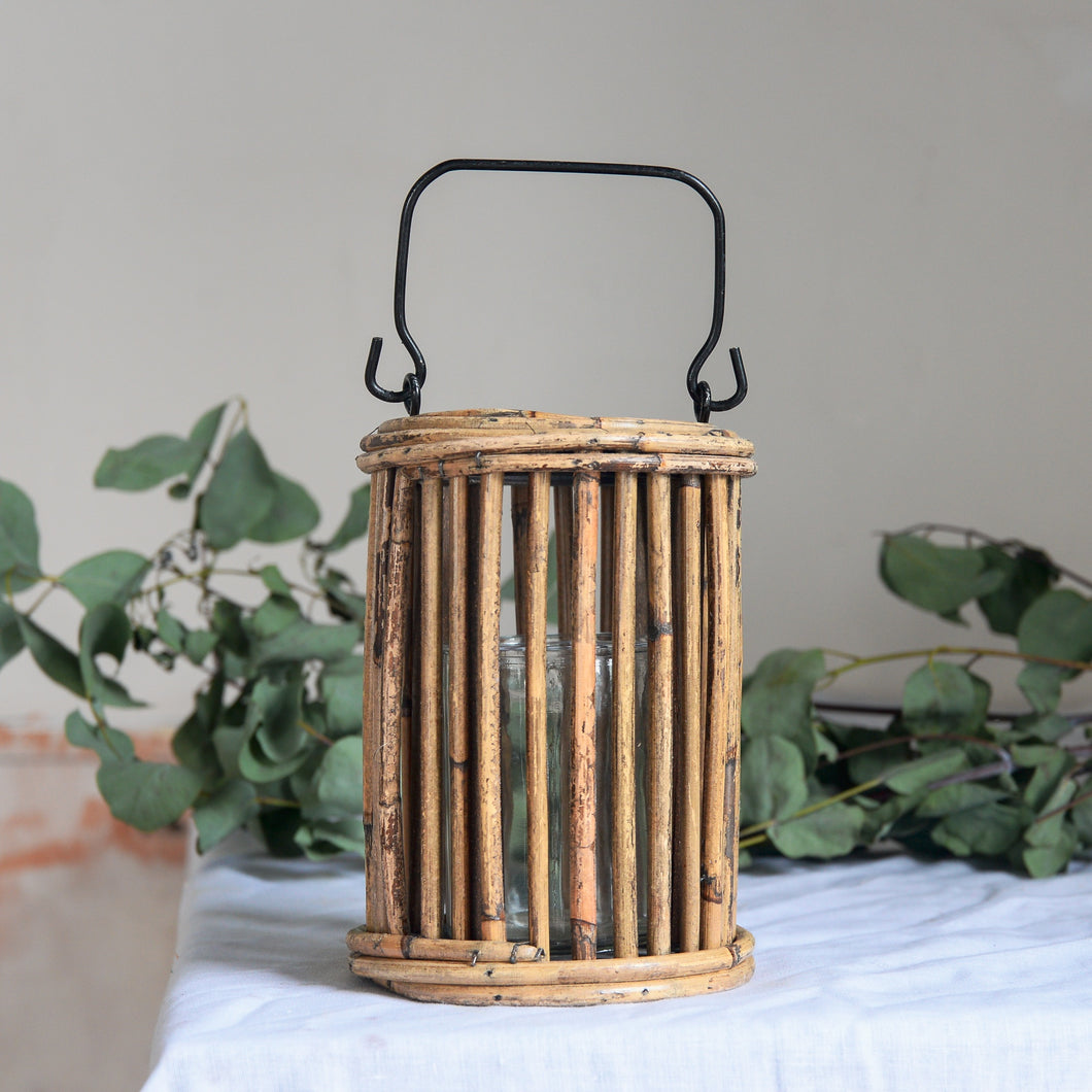 Ova Natural Rattan Glass Lantern