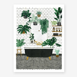 Bathtub and Plants Print (Choice of two sizes)