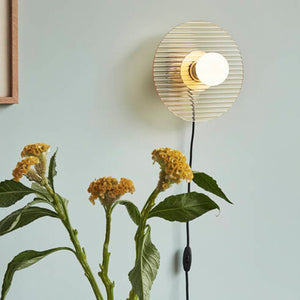 Amber and Brass Wall Bulb Lamp