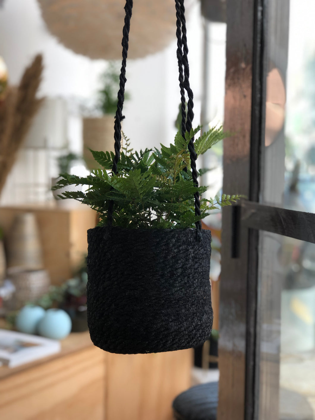 Nordal Jute Hanging Planter In Black