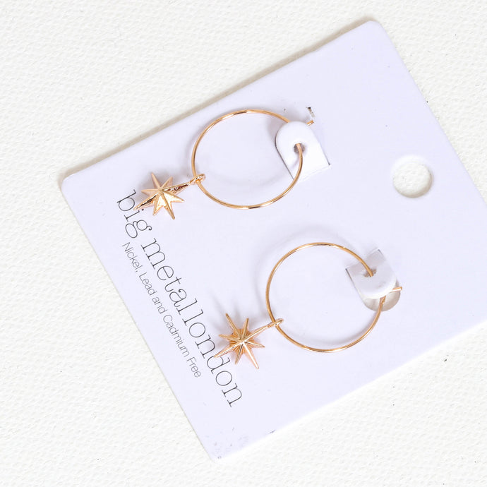 Big Metal London Ilaria Tiny Star Hoop Earring in Gold Big Metal