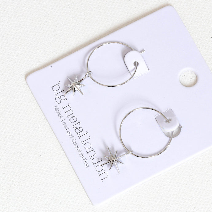 Big Metal London Ilaria Tiny Star Hoop Earring in Silver