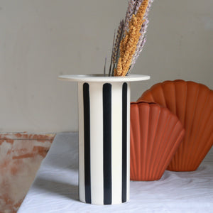 Black and White Striped Ceramic Vase