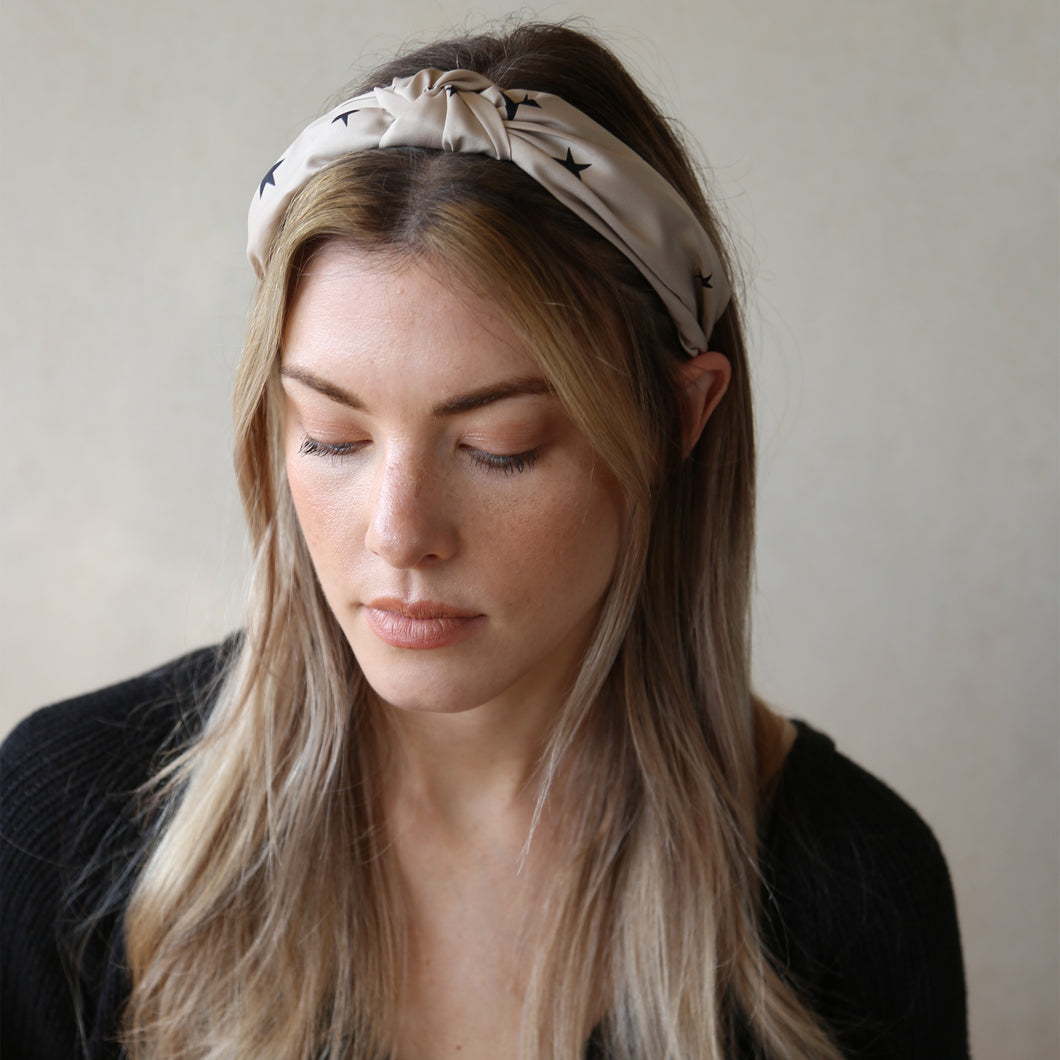 Blush with Black Contrast Starlight Knot Headband