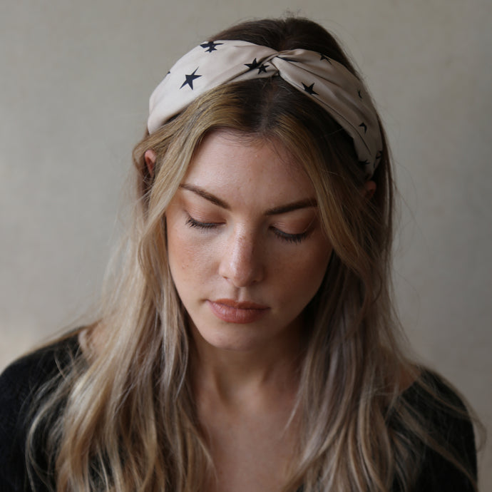 Blush with Black Contrast Starlight Twist Headband