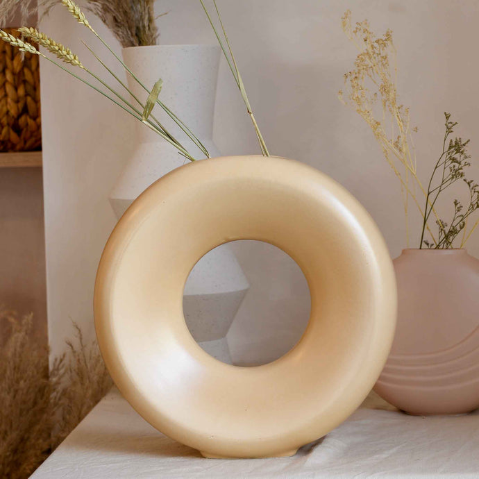 Ceramic Circle Vase in Sand Large from HK Living