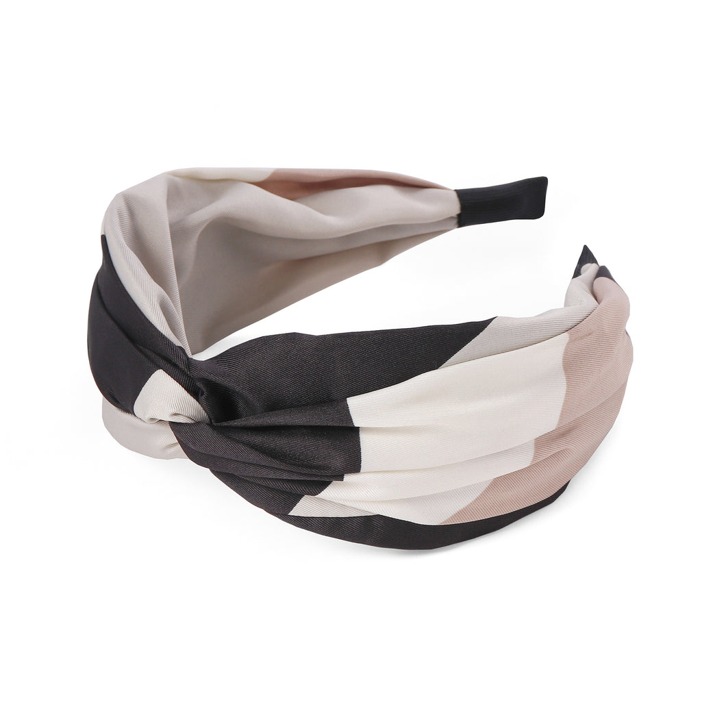 Colour Block Pale Stone Black and Blush Glide Twist Headband