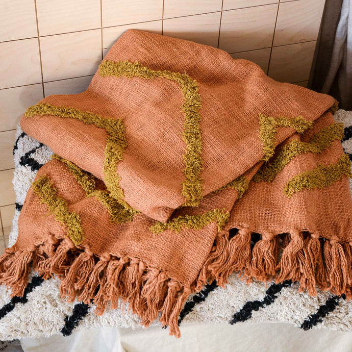 Cotton Fringe Pattern Throw in Brown