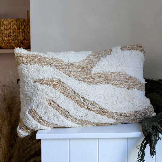 Fluffy Cushion in White and Beige by HK Living