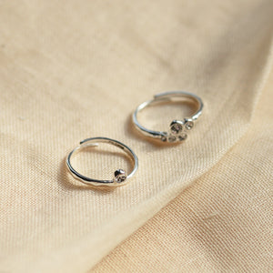Fran Set of Two Silver Plated Crystal Rings