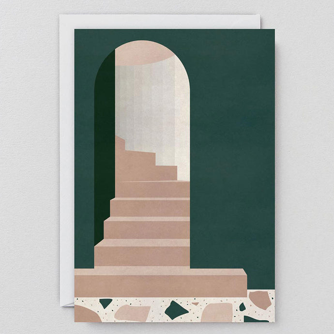 Green Arch With Stairs Card