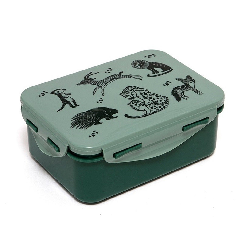 Green Kids Lunchbox with Wildlife Print