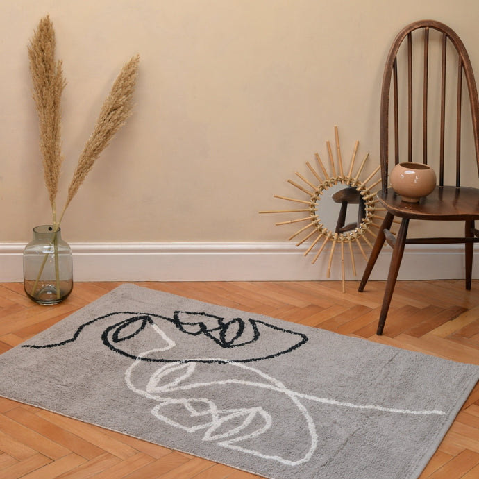 Visage Two Shaggy Rug in Grey with Natural / Black in Organic Cotton 90x120