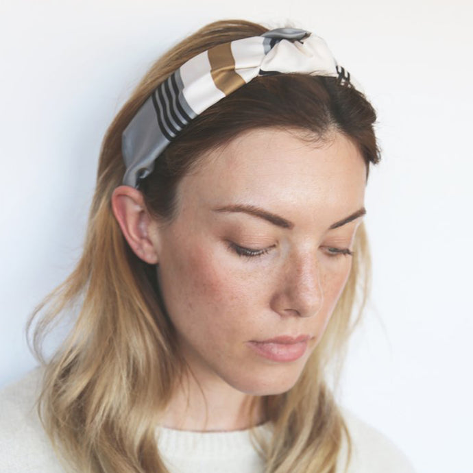 Grey and Beige Check Print with White and Black Detail Headband