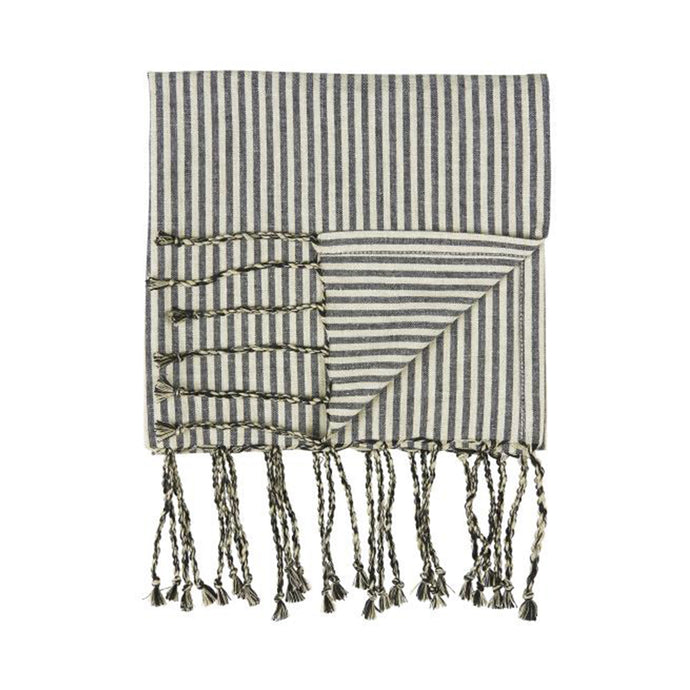 IB Laursen Cotton Cream And Black Stripe Hamman Towel
