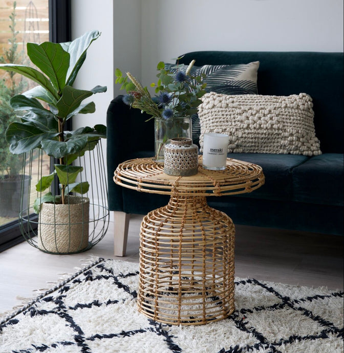 House Doctor Rattan Side Table