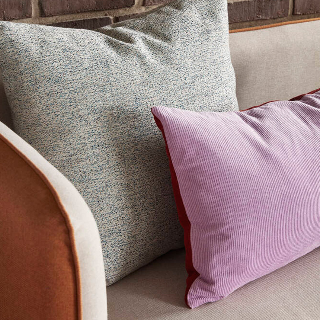 Lilac and Red Corduroy Cushion with Filler