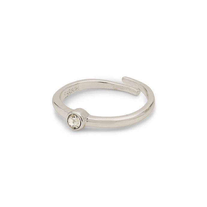 Lulu Crystal Silver Plated Stacking Ring