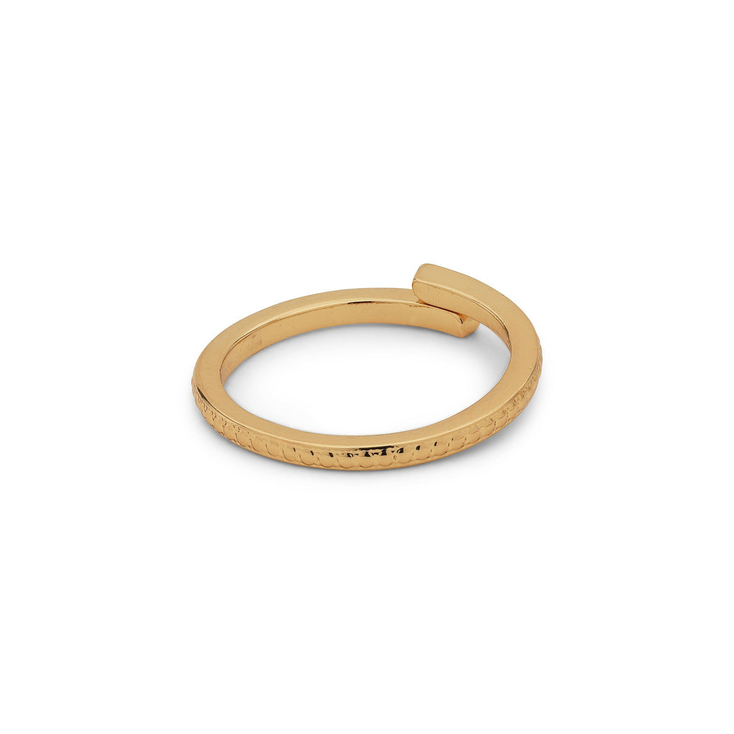 Lulu Textured Gold Plated Stacking Ring