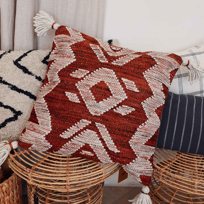Woven Brown Cotton Tassel Cushion